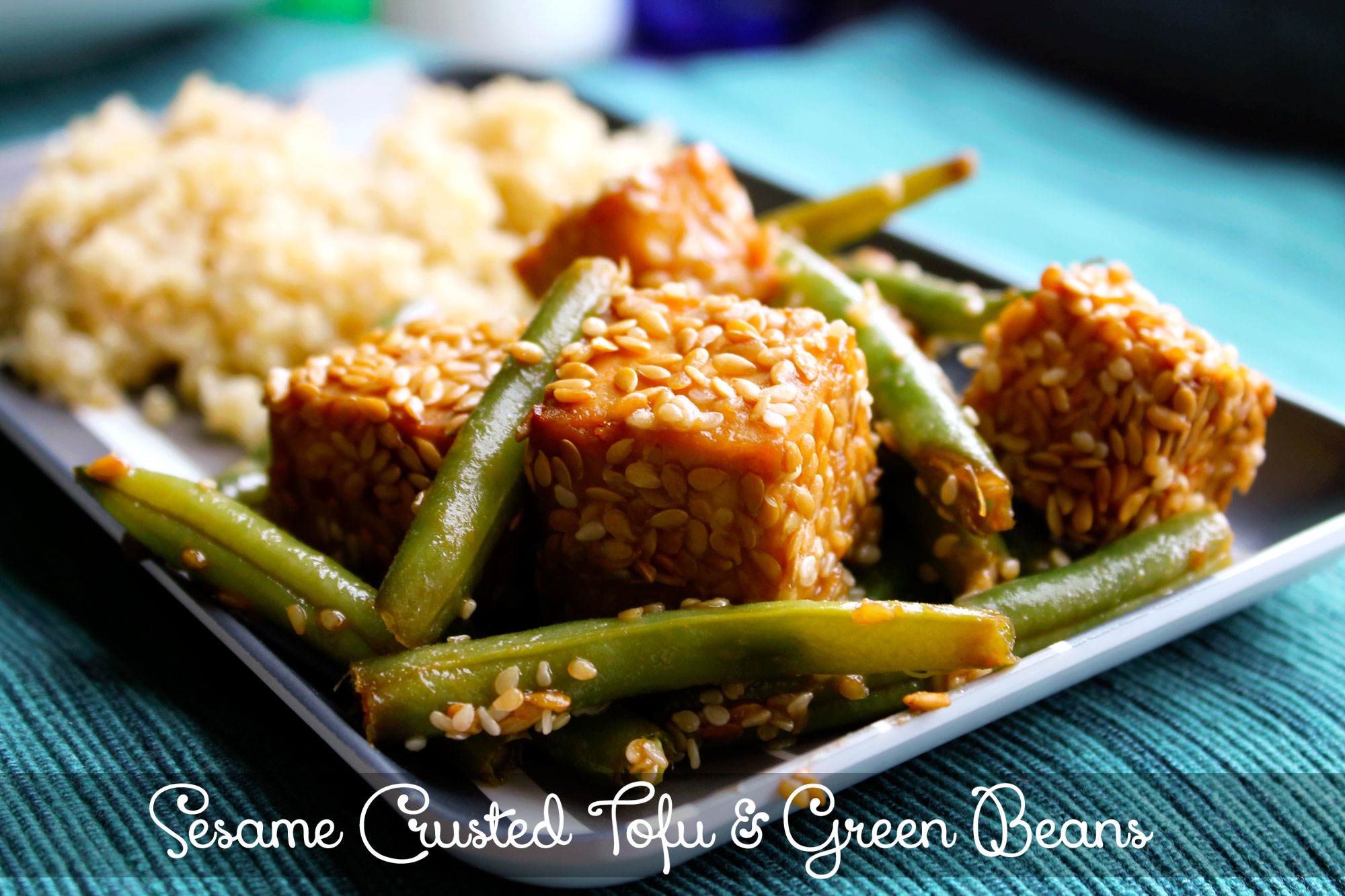 Sesame Crusted Tofu and Green Beans