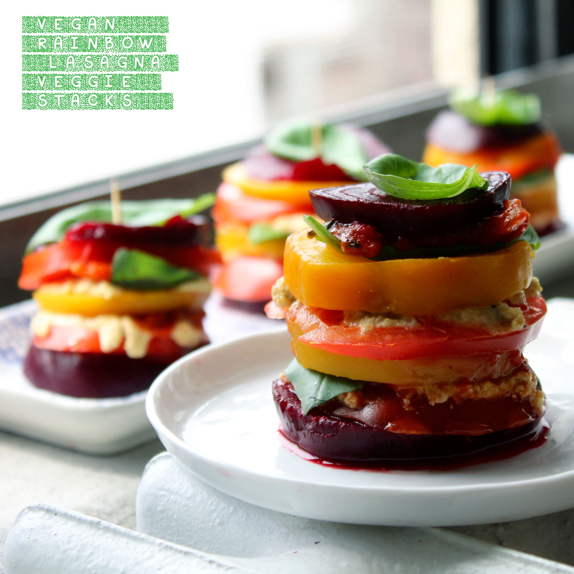 vegan rainbow lasagna veggie stacks